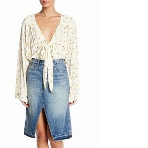 Free People Medium Ivory Bodysuit Blouse Floral